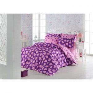Lenjerie si cearsaf din amestec de bumbac pentru pat dublu Pari Purple, 200 x 220 cm