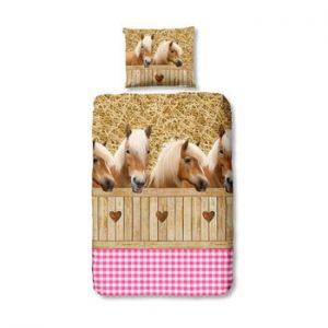Lenjerie de pat din bumbac pentru copii Good Morning Horses, 140 x 200 cm, roz