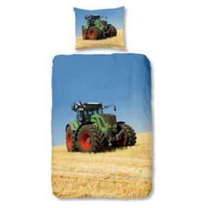 Lenjerie de pat din bumbac pentru copii Good Morning Tractor, 140 x 200 cm