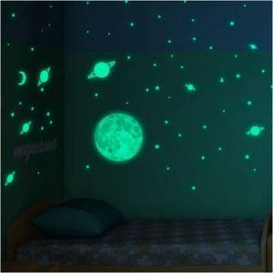 Set autocolante fosforescente de perete Ambiance Moon Small Stars and Planets