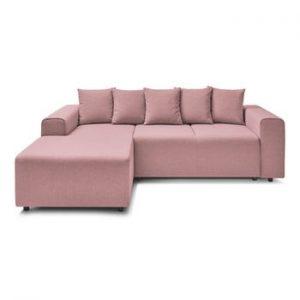 Canapea extensibila cu extensie pe partea stanga Bobochic Paris FARO, roz deschis