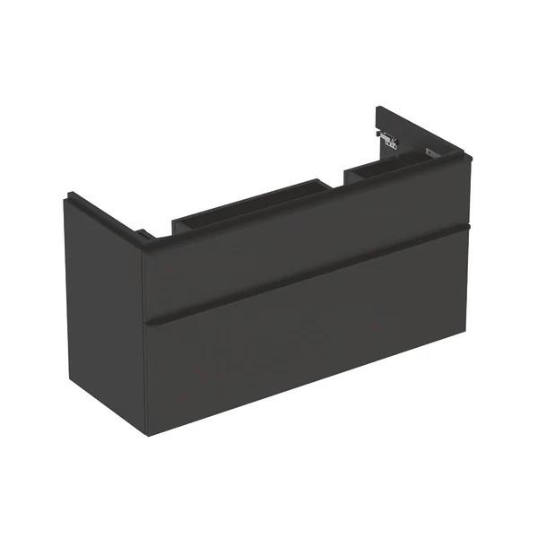 Dulap baza pentru lavoar dublu suspendat Geberit Smyle Square negru 2 sertare 119 cm