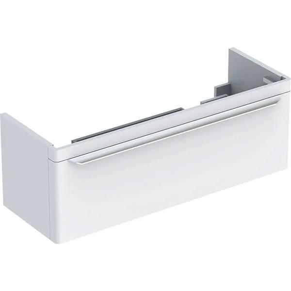 Dulap baza pentru lavoar dublu suspendat alb Geberit Myday 1 sertar 116 cm
