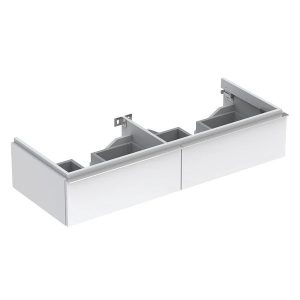 Dulap baza pentru lavoar dublu suspendat alb lucios Geberit Icon 2 sertare 119 cm