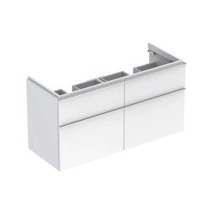 Dulap baza pentru lavoar dublu suspendat alb lucios Geberit Icon 4 sertare 119 cm