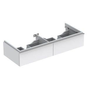 Dulap baza pentru lavoar dublu suspendat alb mat Geberit Icon 2 sertare 119 cm