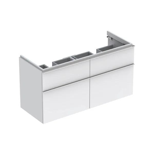 Dulap baza pentru lavoar dublu suspendat alb mat Geberit Icon 4 sertare 119 cm