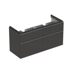 Dulap baza pentru lavoar dublu suspendat negru Geberit Icon 4 sertare 119 cm