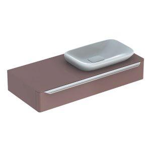 Dulap baza pentru lavoar incorporat suspendat taupe Geberit Myday 1 sertar 115 cm