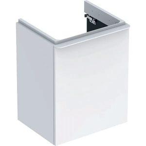 Dulap baza pentru lavoar suspendat Geberit Smyle Square alb 1 usa opritor stanga 50 cm