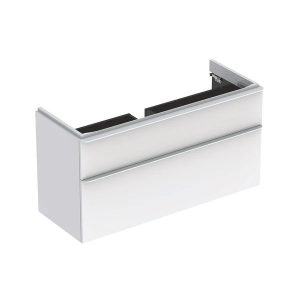 Dulap baza pentru lavoar suspendat Geberit Smyle Square alb 2 sertare 119 cm