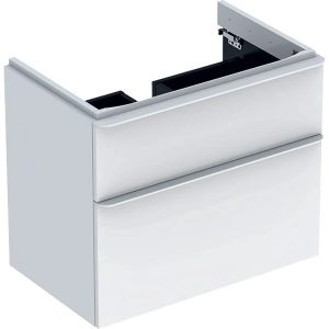 Dulap baza pentru lavoar suspendat Geberit Smyle Square alb 2 sertare 74 cm