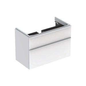 Dulap baza pentru lavoar suspendat Geberit Smyle Square alb 2 sertare 89 cm