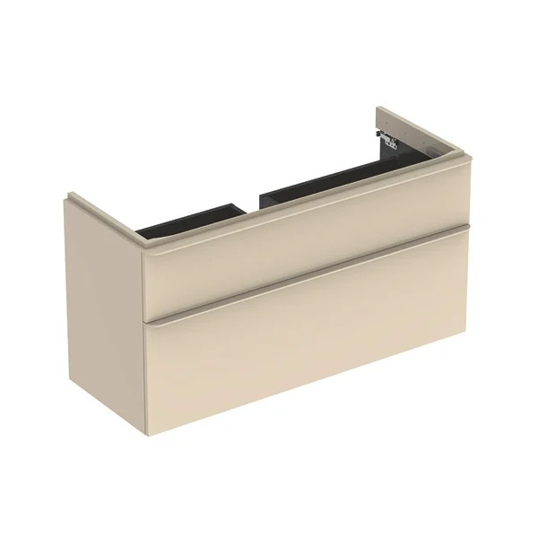 Dulap baza pentru lavoar suspendat Geberit Smyle Square gri nisip 2 sertare 119 cm