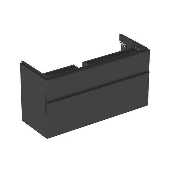 Dulap baza pentru lavoar suspendat Geberit Smyle Square negru 2 sertare 119 cm