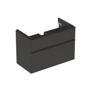 Dulap baza pentru lavoar suspendat Geberit Smyle Square negru 2 sertare 89 cm