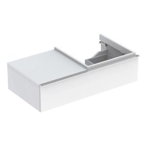 Dulap baza pentru lavoar suspendat alb lucios Geberit Icon 1 sertar si 1 blat dreapta 89 cm