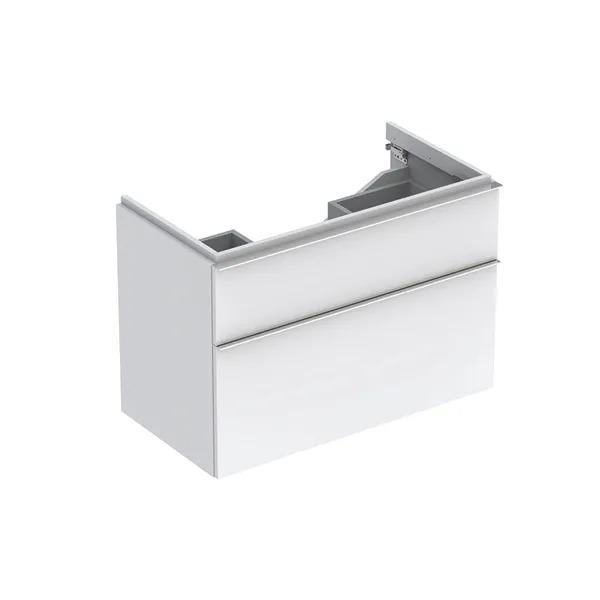 Dulap baza pentru lavoar suspendat alb lucios Geberit Icon 2 sertare 89 cm
