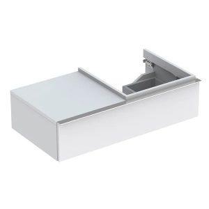 Dulap baza pentru lavoar suspendat alb mat Geberit Icon 1 sertar si 1 blat dreapta 89 cm