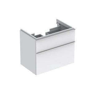 Dulap baza pentru lavoar suspendat alb mat Geberit Icon 2 sertare 74 cm