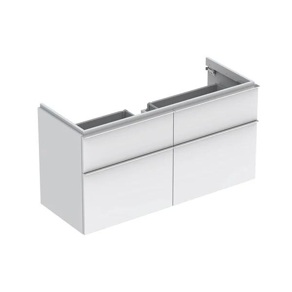 Dulap baza pentru lavoar suspendat alb mat Geberit Icon 4 sertare 119 cm