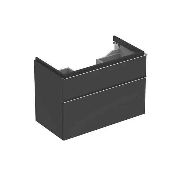 Dulap baza pentru lavoar suspendat negru Geberit Icon 2 sertare 89 cm