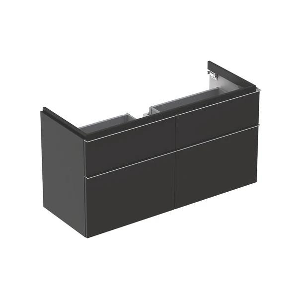 Dulap baza pentru lavoar suspendat negru Geberit Icon 4 sertare 119 cm