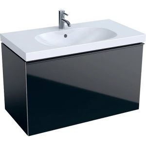 Dulap baza pentru lavoar suspendat negru Geberit Acanto 1 sertar 89 cm