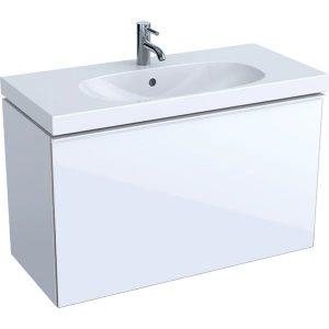 Dulap baza pentru lavoar suspendat proiectie mica alb Geberit Acanto 1 sertar 89 cm