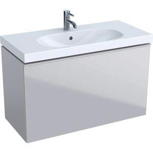 Dulap baza pentru lavoar suspendat proiectie mica gri nisip Geberit Acanto 1 sertar 89 cm