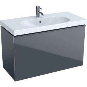 Dulap baza pentru lavoar suspendat proiectie mica negru Geberit Acanto 1 sertar 89 cm