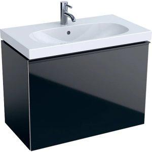Dulap baza pentru lavoar suspendat proiectie mica negru Geberit Acanto 1 sertar 74 cm