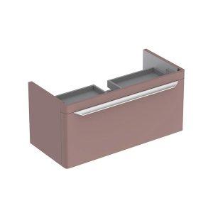 Dulap baza pentru lavoar suspendat taupe Geberit Myday 1 sertar 88 cm