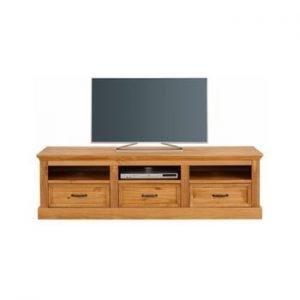 Comoda TV din lemn de pin cu 3 sertare Støraa Suzie, maro