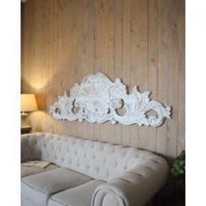 Decoratiune de perete din lemn de mango Orchidea Milano Antique, lungime 180 cm, alb