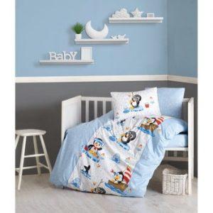 Lenjerie de pat din bumbac pentru copii Penguen, 100x150cm