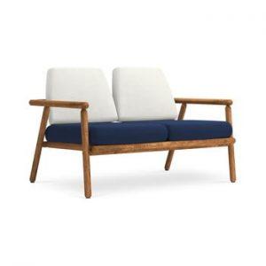 Canapea cu 2 locuri pentru exterior, constructie lemn masiv de salcam Calme Jardin Capri, gri deschis - albastru marin