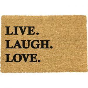 Covoras intrare din fibre de cocos Artsy Doormats Live Laugh Love, 40 x 60 cm