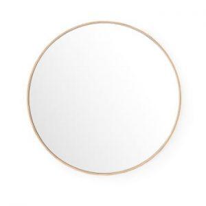 Oglinda de perete cu rama din lemn de stejar Wireworks Glance, ⌀66 cm