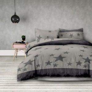 Lenjerie de pat din microfibra DecoKing Stardust, 135 x 200 cm + 50 x 75 cm, gri
