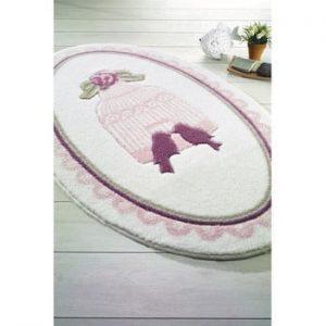 Covoras de baie Confetti Bathmats Birdcage, 80 x 130 cm, roz-alb