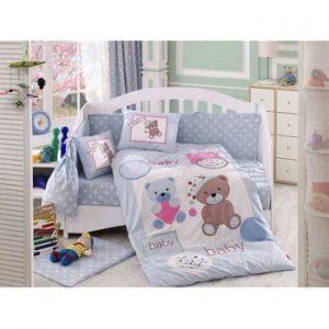 Lenjerie de pat cu cearsaf Ponpon, 100 x 150 cm