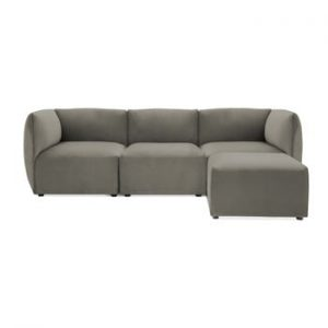 Canapea modulara cu 3 locuri si suport pentru picioare Vivonita Velvet Cube, gri