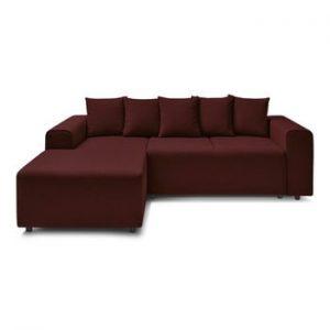 Canapea extensibila cu extensie pe partea stanga Bobochic Paris FARO, rosu inchis