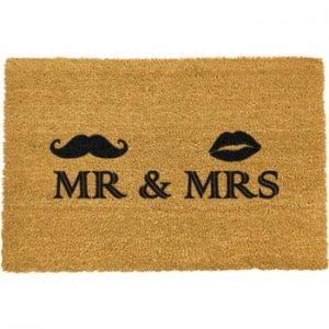 Covoras intrare din fibre de cocos Artsy Doormats Mr and Mrs, 40 x 60 cm