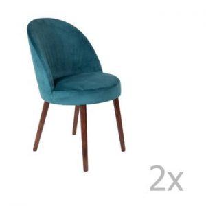 Set 2 scaune Dutchbone Barbara, albastru petrol