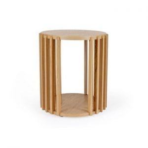 Masuta auxiliara din lemn de stejar Woodman Drum, ø 53 cm