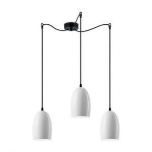 Lustra tripla cu cablul negru Sotto Luce Ume, alb lucios