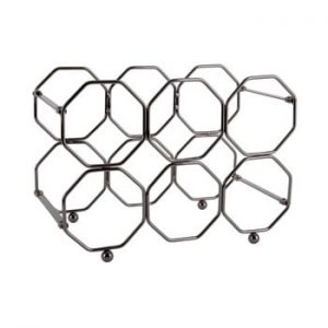 Suport pliabil din metal, pentru sticle de vin PT LIVING Honeycomb, gri