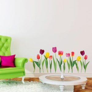 Set autocolante pentru perete Ambiance Colorful Tulips